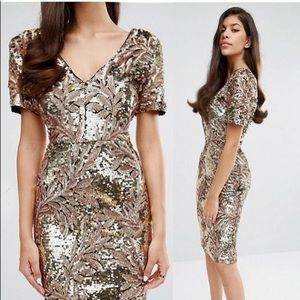 Sequin Midi Dress with Cap Sleeve by Club L